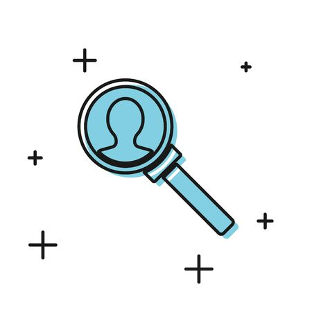 Black Magnifying glass for search icon isolated on white background. Recruitment or selection concept. Search for employees and job. Vector Illustration