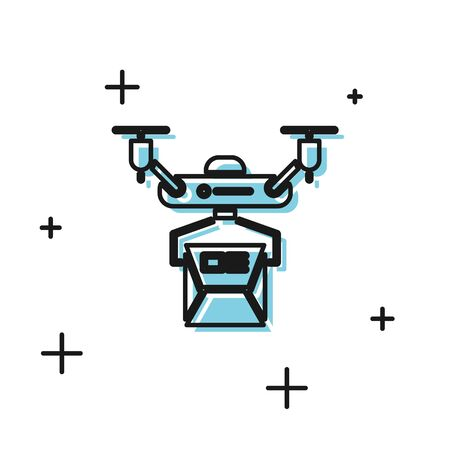 Black Drone delivery concept icon isolated on white background. Quadrocopter carrying a package. Transportation, logistic concept. Vector Illustration 일러스트