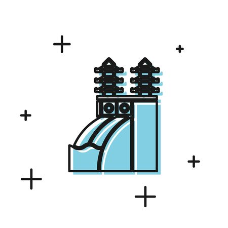Black Nuclear power plant icon isolated on white background. Energy industrial concept. Vector Illustration Ilustrace