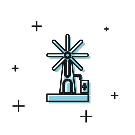 Black Wind turbine icon isolated on white background. Wind generator sign. Windmill for electric power production. Vector Illustration