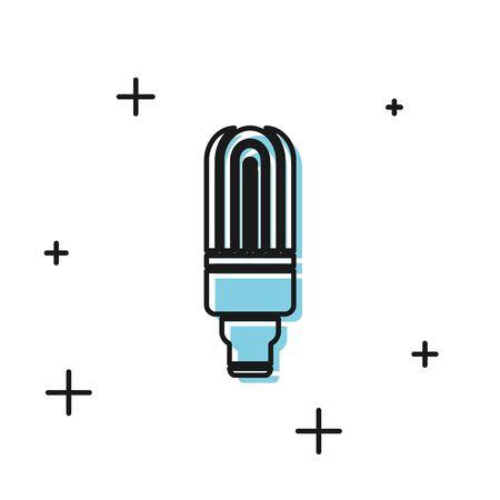 Black LED light bulb icon isolated on white background. Economical LED illuminated lightbulb. Save energy lamp. Vector Illustration