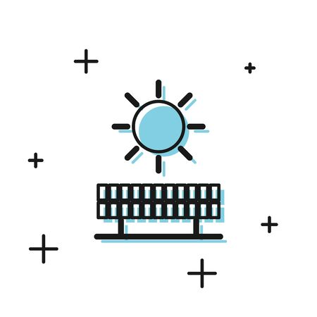 Black Solar energy panel and sun icon isolated on white background. Vector Illustration 일러스트