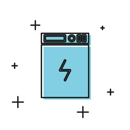 Black Power bank icon isolated on white background. Portable charging device. Vector Illustration 일러스트