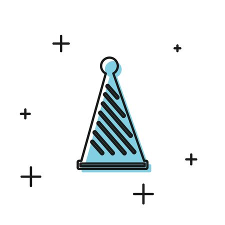 Black Party hat icon isolated on white background. Birthday hat. Vector Illustration
