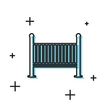 Black Baby crib cradle bed icon isolated on white background. Vector Illustration