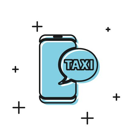 Black Taxi call telephone service icon isolated on white background. Taxi for smartphone. Vector Illustration