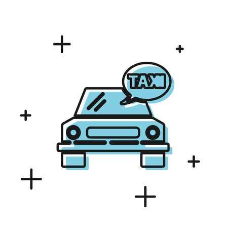 Black Taxi car icon isolated on white background. Vector Illustration