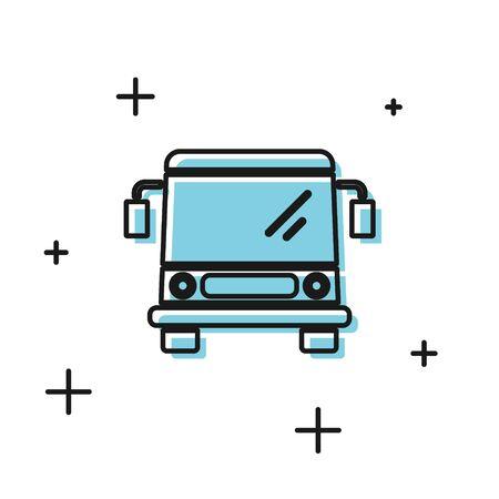 Black Bus icon isolated on white background. Transportation concept. Bus tour transport sign. Tourism or public vehicle symbol. Vector Illustration 일러스트