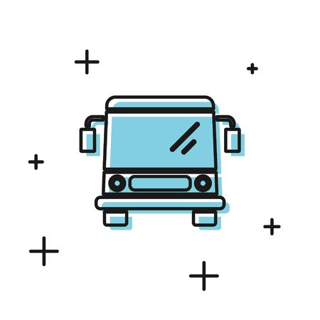 Black Bus icon isolated on white background. Transportation concept. Bus tour transport sign. Tourism or public vehicle symbol. Vector Illustration Illustration