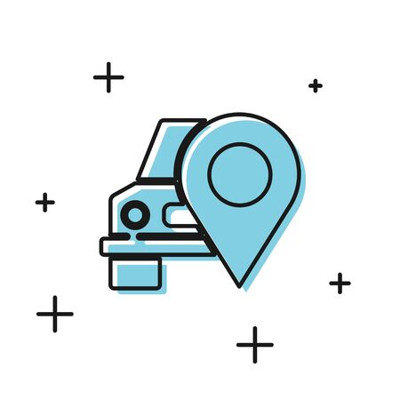 Black Map pointer with taxi icon isolated on white background. Location symbol. Vector Illustration 일러스트