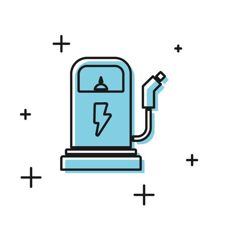 Black Electric car charging station icon isolated on white background. Eco electric fuel pump sign. Vector Illustration