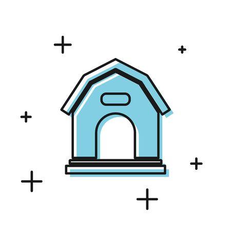 Black Dog house icon isolated on white background. Dog kennel. Vector Illustration Illustration