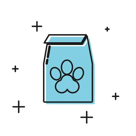 Black Bag of food for pet icon isolated on white background. Food for animals. Pet food package. Dog or cat paw print. Vector Illustration Stock Illustratie