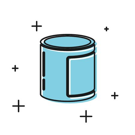 Black Canned food icon isolated on white background. Food for animals. Pet food can. Vector Illustration Illustration