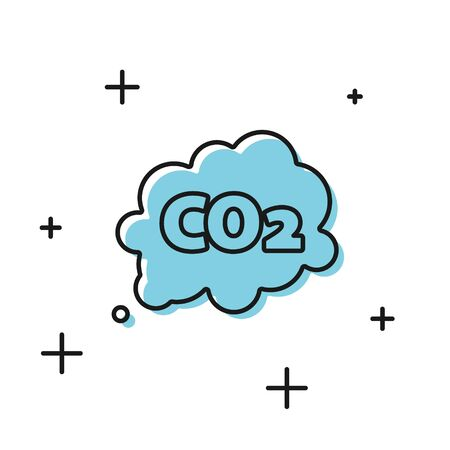 Black CO2 emissions in cloud icon isolated on white background. Carbon dioxide formula symbol, smog pollution concept, environment concept. Vector Illustration