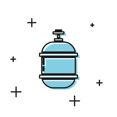 Black Propane gas tank icon isolated on white background. Flammable gas tank icon. Vector Illustration