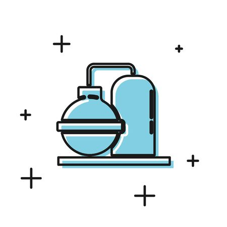Black Oil and gas industrial factory building icon isolated on white background. Vector Illustration