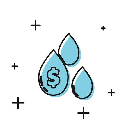 Black Oil drop with dollar symbol icon isolated on white background. Vector Illustration
