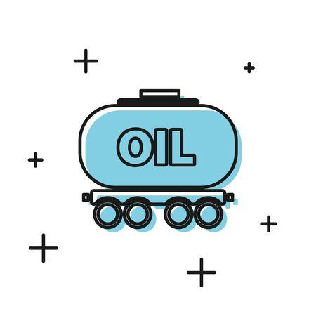 Black Oil railway cistern icon isolated on white background. Train oil tank on railway car. Rail freight. Oil industry. Vector Illustration