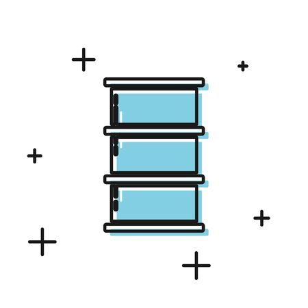 Black Barrel oil icon isolated on white background. Vector Illustration Ilustrace