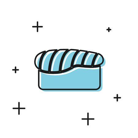 Black Sushi icon isolated on white background. Traditional Japanese food. Vector Illustration Illustration