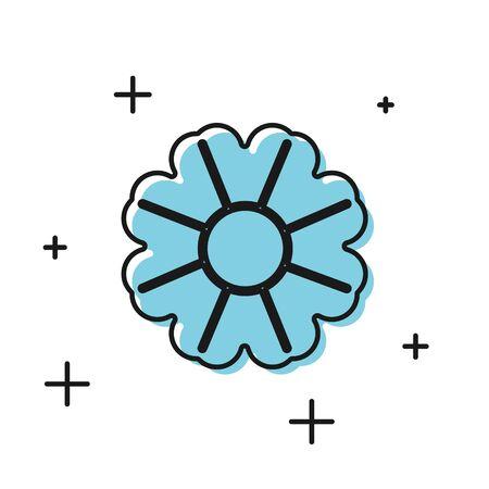 Black Flower icon isolated on white background. Vector Illustration Ilustrace