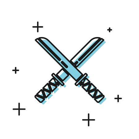 Black Traditional Japanese katana icon isolated on white background. Japanese sword. Vector Illustration