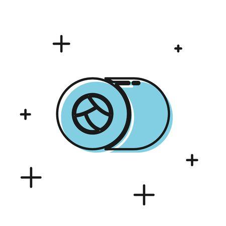 Black Sushi icon isolated on white background. Traditional Japanese food. Vector Illustration Illusztráció