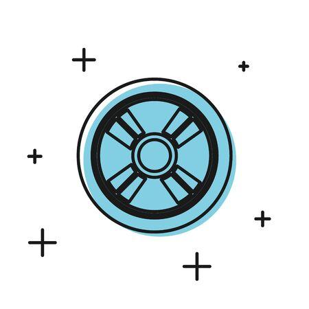 Black Car wheel icon isolated on white background. Vector Illustration Foto de archivo - 134811152