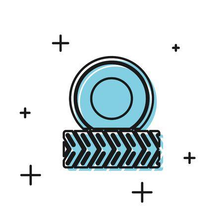 Black Car wheel icon isolated on white background. Vector Illustration