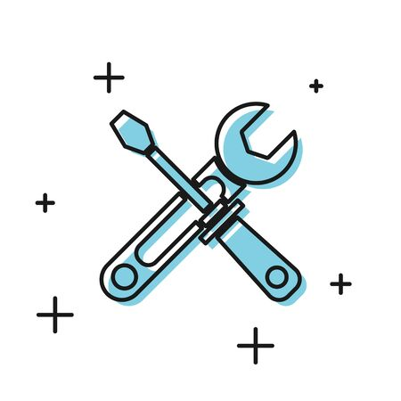 Black Screwdriver and wrench tools icon isolated on white background. Service tool symbol. Vector Illustration