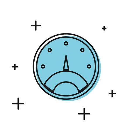 Black Speedometer icon isolated on white background. Vector Illustration Foto de archivo - 134812245