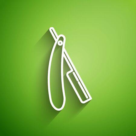 White line Straight razor icon isolated on green background. Barbershop symbol. Vector Illustration Иллюстрация