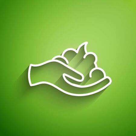 White line Shaving gel foam on hand icon isolated on green background. Shaving cream.  Vector Illustration