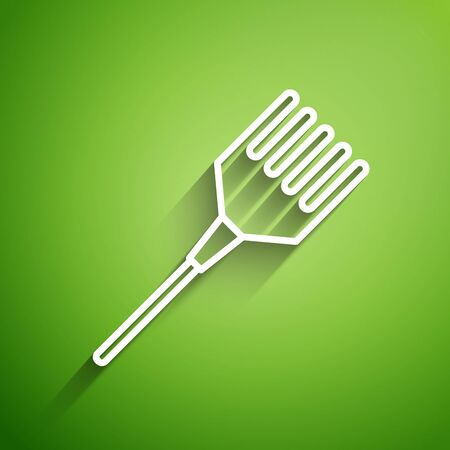 White line Hairbrush icon isolated on green background. Comb hair sign. Barber symbol. Vector Illustration