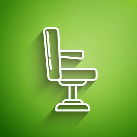 White line Barbershop chair icon isolated on green background. Barber armchair sign.  Vector Illustration