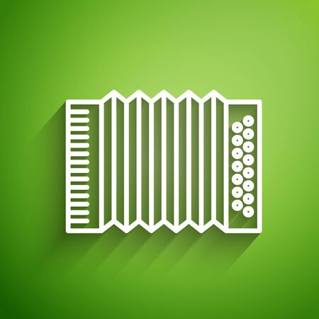 White line Musical instrument accordion icon isolated on green background. Classical bayan, harmonic. Vector Illustration Foto de archivo - 134830681