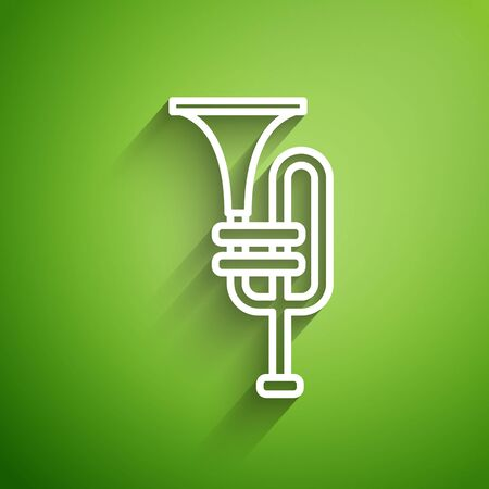 White line Musical instrument trumpet icon isolated on green background.  Vector Illustration Vectores