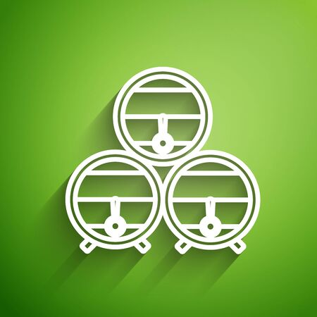 White line Wooden barrel on rack with stopcock icon isolated on green background. Vector Illustration Ilustração