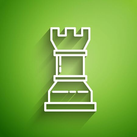 White line Business strategy icon isolated on green background. Chess symbol. Game, management, finance. Vector Illustration