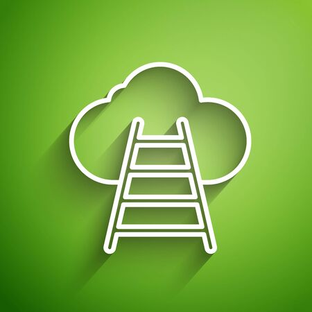 White line Ladder leading to cloud icon isolated on green background. Stairs leading to the cloud. Vector Illustration