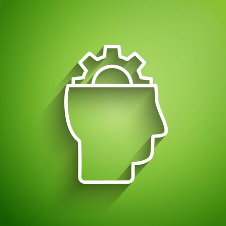 White line Human with gear inside icon isolated on green background. Artificial intelligence. Thinking brain sign. Symbol work of brain. Vector Illustration Иллюстрация