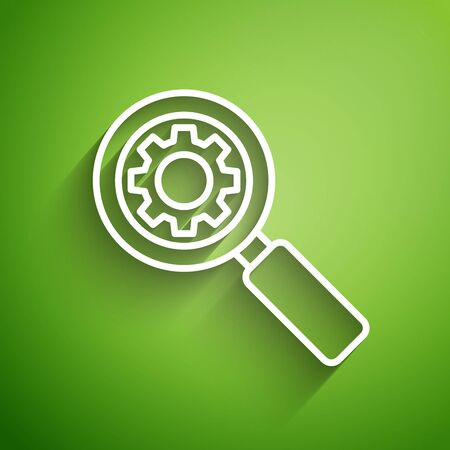 White line Magnifying glass and gear icon isolated on green background. Search gear tool. Business analysis symbol. Vector Illustration Illustration