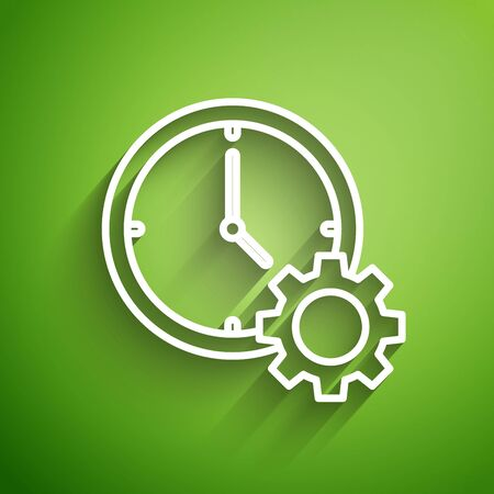 White line Time Management icon isolated on green background. Clock and gear sign. Productivity symbol. Vector Illustration Ilustracja