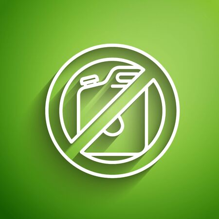 White line No canister for gasoline icon isolated on green background. Diesel gas icon. Vector Illustration Illusztráció