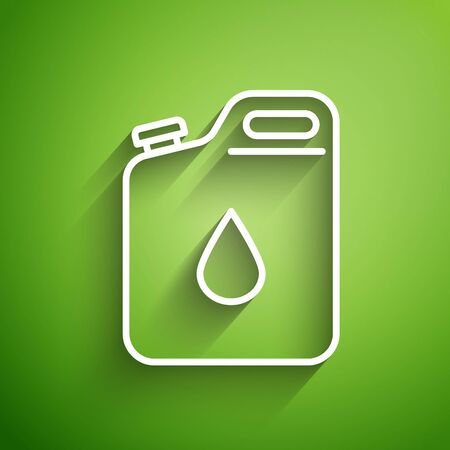 White line Canister for gasoline icon isolated on green background. Diesel gas icon.  Vector Illustration