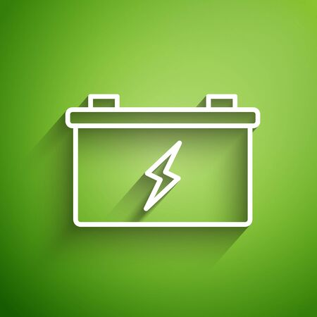 White line Car battery icon isolated on green background. Accumulator battery energy power and electricity accumulator battery.  Vector Illustration
