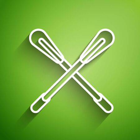 White line Crossed paddle icon isolated on green background. Paddle boat oars.  Vector Illustration Stock Illustratie