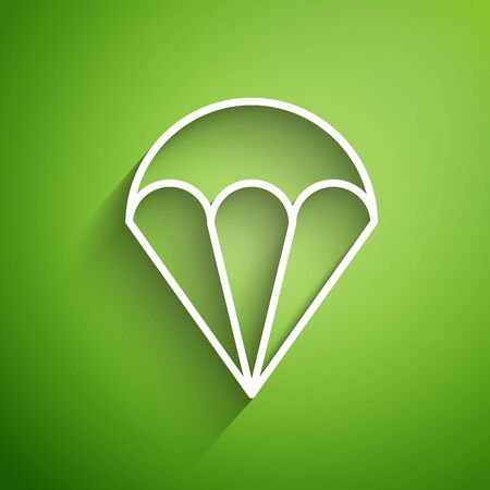 White line Parachute icon isolated on green background. Extreme sport. Sport equipment. Vector Illustration