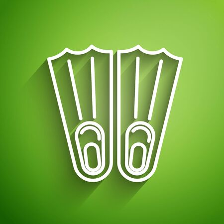 White line Rubber flippers for swimming icon isolated on green background. Diving equipment. Extreme sport. Sport equipment. Vector Illustration Illustration